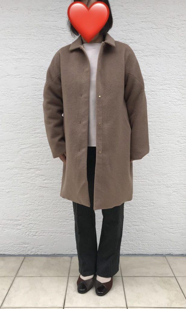 【口コミ評判】ドゥクラッセ・マジカルサーモ リバーシブル・ウールコートをパンツで