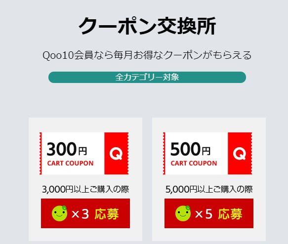 Qoo10のクーポン交換所のクーポン